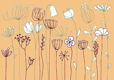 Background with drawing herbs and flowers. Vector background with doodle abstract herbs and flowers, floral template vector illustration