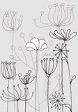 Background with drawing herbs and flowers. Vector background with doodle abstract herbs and flowers, floral template Royalty Free Stock Image