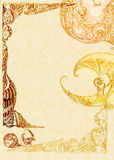 Background with drawing patterns. In pencil on yellow paper royalty free illustration