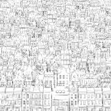 Background from the drawn black outline of buildings Stock Photo