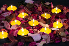 Candles and roses for Valentine Royalty Free Stock Photography