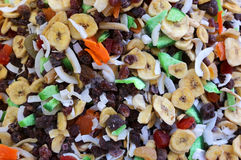 Background with dried fruit with banana coconut and other tropic Royalty Free Stock Photography