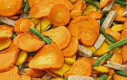Background of dried vegetables with carrot bean Stock Images