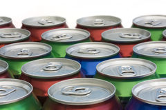 Background of drinks can tops. Background of closed drinks can tops Stock Images
