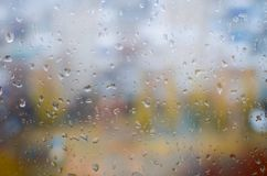 Water drops on window glass. Background with drops of autumn rain on the window. Fall  background Stock Image