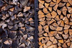 Background of dry chopped firewood logs. Stacked up on top of each other in a pile Royalty Free Stock Photography