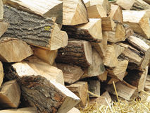 Background of dry chopped firewood logs and hay Stock Image