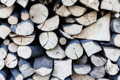Background dry chopped firewood logs stacked up in a pile. Wood logs ready for fire winter chimney. Scenery from a. Background dry chopped firewood logs stacked royalty free stock photo
