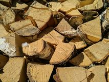 Background of Dry Firewood Logs, Stack of beech chopped firewoods Royalty Free Stock Images