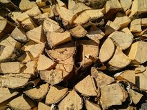Background of Dry Firewood Logs, Stack of beech chopped firewoods Stock Photo