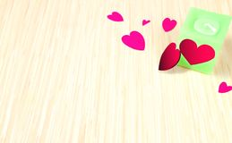 Background due to the Festival celebrations and Valentine`s day. And a candle with a heart-shaped pattern, and I will give love to each other Royalty Free Stock Photos