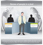Background with a duel of two persons and moderator Stock Images