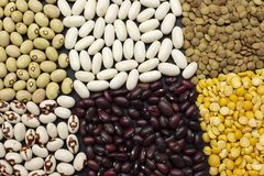 Background of dyfferent types of beans royalty free stock image