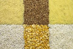 Background of dyfferent types of cereals stock photography