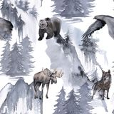 Background with an eagle, a bear, an elk and a wolf. Seamless pattern. royalty free illustration