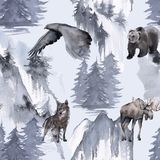 Background with an eagle, a bear, an elk and a wolf. Seamless pattern. stock illustration