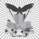 Background eagle on shield with swords and flowers Royalty Free Stock Photos