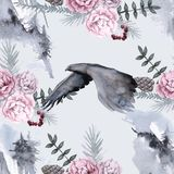 Background with an eagle and Siberian plants. Seamless pattern. Watercolor illustration royalty free illustration