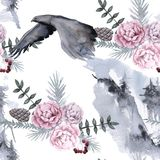 Background with an eagle and Siberian plants. Seamless pattern. Watercolor illustration stock illustration