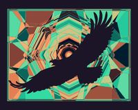 Background with an eagle silhouette, abstract pattern.  royalty free illustration