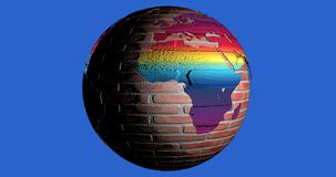 A background with the Earth planet made by bricks full of colors, which shows the Africa continent. Background with the Earth planet made by bricks full of royalty free illustration