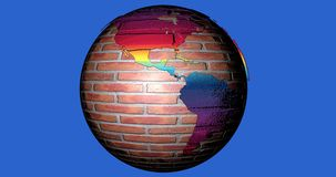 A background with the Earth planet made by bricks full of colors, which shows the American continent. Background with the Earth planet made by bricks full of stock illustration