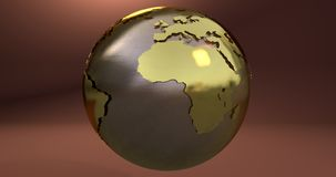 A background with the Earth planet made in gold, which shows the Africa continent. Background with the Earth planet made in gold, which shows the Africa royalty free illustration