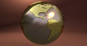 A background with the Earth planet made in gold, which shows the American continent. Background with the Earth planet made in gold, which shows the American stock illustration