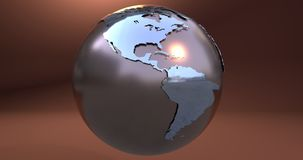 A background with the Earth planet made in metal, which shows the American continent. Background with the Earth planet made in metal, which shows the American vector illustration