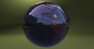 A background with the Earth planet made with a reflective material, which shows the American continent. Background with the Earth planet made with a reflective royalty free illustration