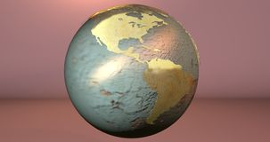 A background with the Earth planet made in rusty material, which shows the American continent. Background with the Earth planet made in rusty material, which royalty free illustration