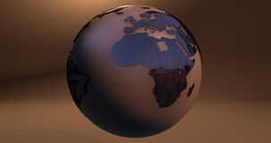 A background with the Earth planet made of a wooden texture, which shows the Africa continent. Background with the Earth planet made of a wooden texture, which stock illustration