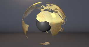 A background with the Earth planet with some parts invisible and with a sphere in its middle, which shows the Africa continent. Background with the Earth planet vector illustration