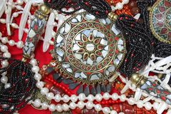 Background-east jewelry with magnificent coral necklace and pearls Stock Photo