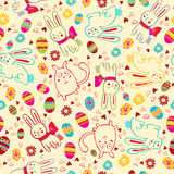 Background with Easter bunnies and eggs Stock Images