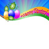 Background for Easter with colored eggs and green leaves. Christ Is Risen Stock Photos