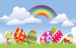 Background with easter eggs Stock Images