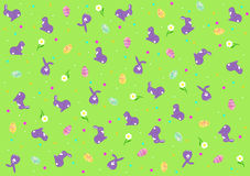 Background with Easter eggs and bunnies Stock Photography