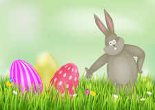 Background with Easter eggs and Bunny. Easter vector illustration Royalty Free Stock Photo