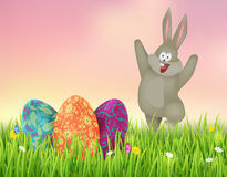Background with Easter eggs and Bunny. Easter vector illustration Stock Photography