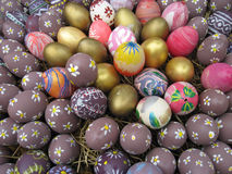 Background with Easter Eggs decorated by children Royalty Free Stock Images