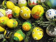 Background with Easter Eggs decorated by children Royalty Free Stock Photography
