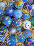 Background with Easter Eggs decorated by childrens Royalty Free Stock Image