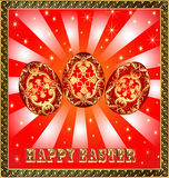 Background with Easter eggs and golden rays Royalty Free Stock Images
