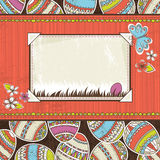 Background with easter eggs and label for text Stock Image