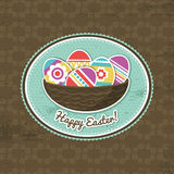 Background with easter eggs and label Royalty Free Stock Photography