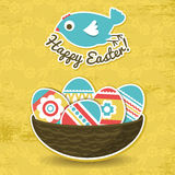 Background with easter eggs and one bird Stock Photography