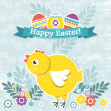 Background with easter eggs and one chick Stock Image