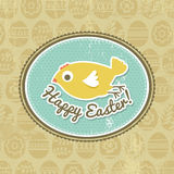Background with easter eggs and one chick Royalty Free Stock Image