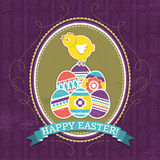 Background with easter eggs and one chick Stock Photo